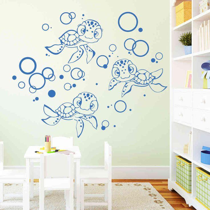 Amazing Wandtattoo Niedliche Schildkr ten Familie Aufkleber Wandtattoo als Dekoration f r Ihre Wand zu Hause