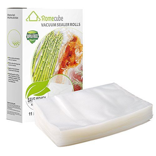 Vacuum Sealer BagsHomecube 100 Quart Size 8 x 12 Food Storage Saver Commercial Grade Food Sealer Bags for Sous Vide Reviews