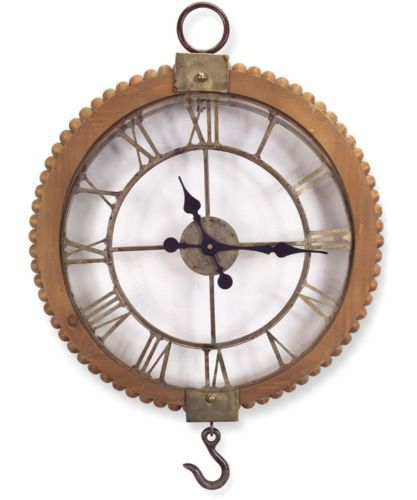 22 inch, $100 Vintage-Industrial-Wall-Clock-Rustic-Pulley-Style-Roman-Numeral-22-in-Round-NEW