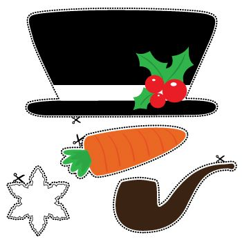 CHRISTMAS SNOWMAN HAT, NOSE, AND PIPE CLIP ART PRINTABLE