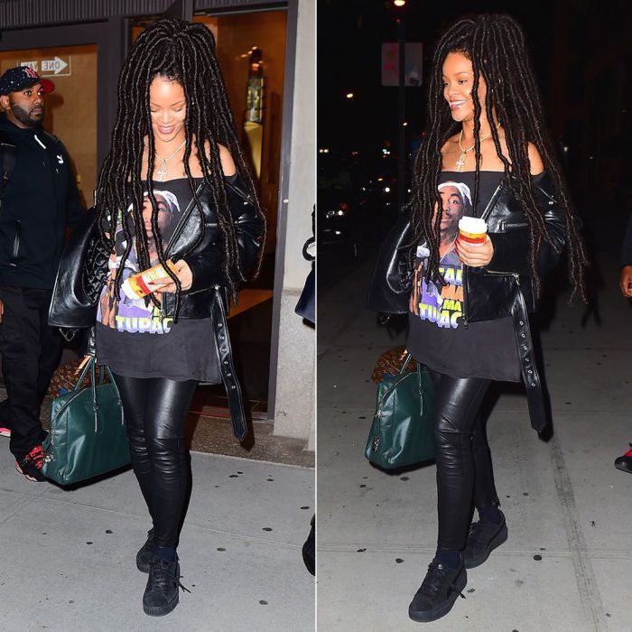 Rihanna Balenciaga Swing cropped biker jacket, Tupac t-shirt, Fenty x Puma black suede creeeprs, Prada Saffiano briefcase, Louis Vuitton x Frank Gehry twisted box handbag, Moschino capsule pill bottle iphone case