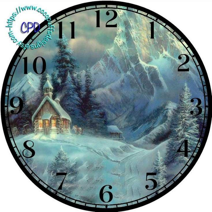 """Old Church in the Winter Mountains Art - -DIY Digital Collage - 12.5"""" DIA for 12"""" Clock Face Art - Crafts Projects, forest, snow by CocoPuffsDesigns on Etsy"""