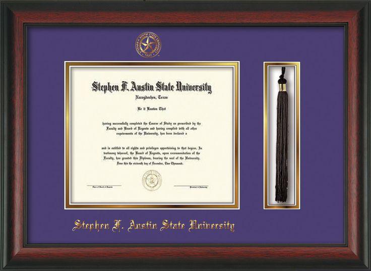 Stephen F. Austin Diploma Frame - Rosewood - Tassel - Purple/Gold – Professional Framing Company