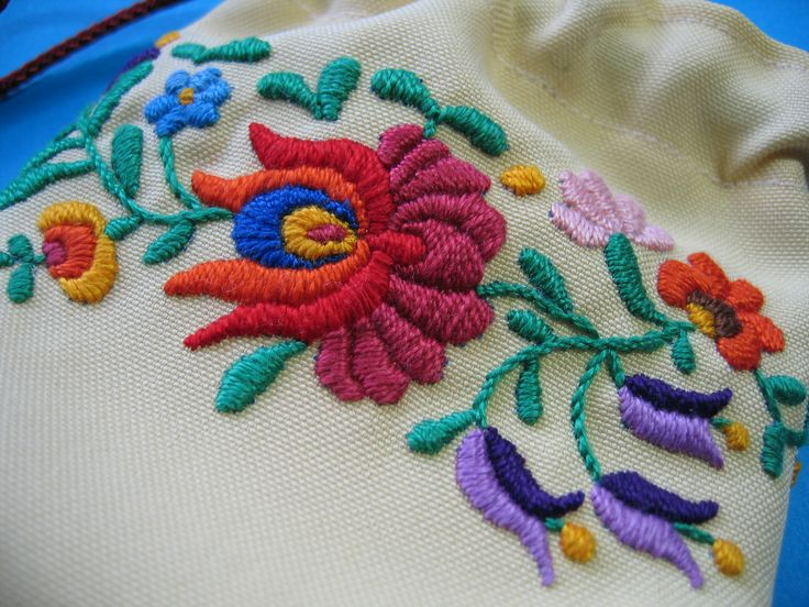 Close up a  drawstring pouch with Hungarian embroidery