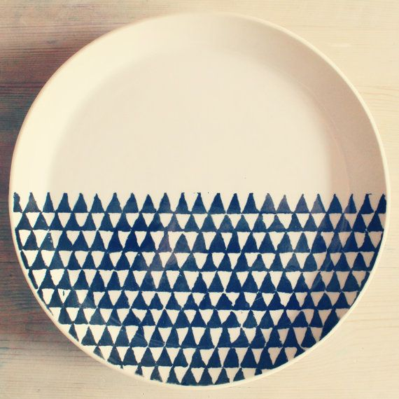 porcelain dinnerware plate triangle screenprinted design.   MADE TO ORDER via Etsy