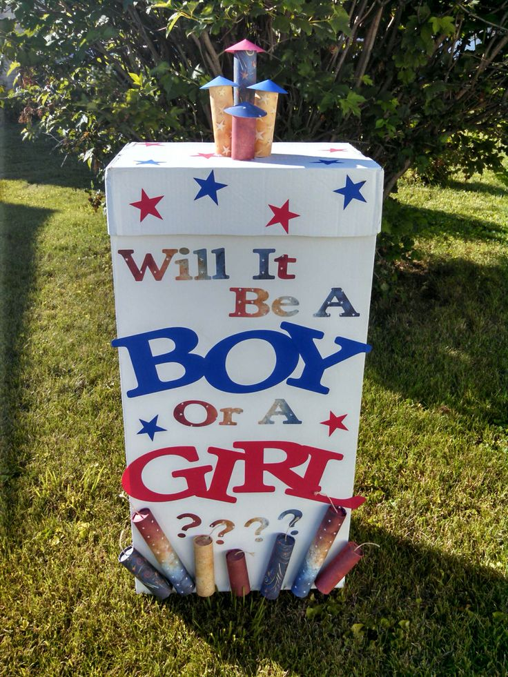 4th of July gender reveal party ballon box