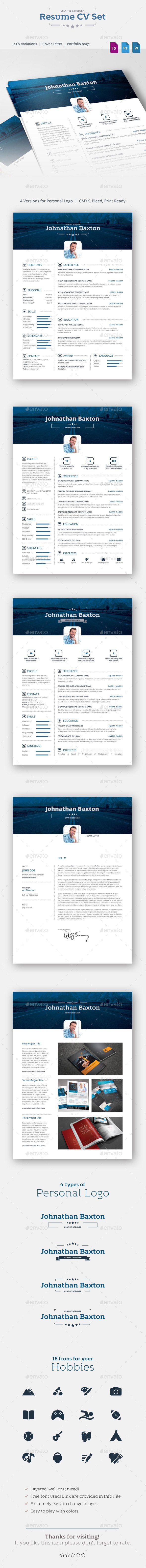 A modern 5 pieces resume set which helps you to present yourself in the smartest way. Take it and create a strong impression about you. In this set you will find three versio of CV, Cover Letter and Portfolio. This Resume comes in one color, but you can play with colors anyway you want.