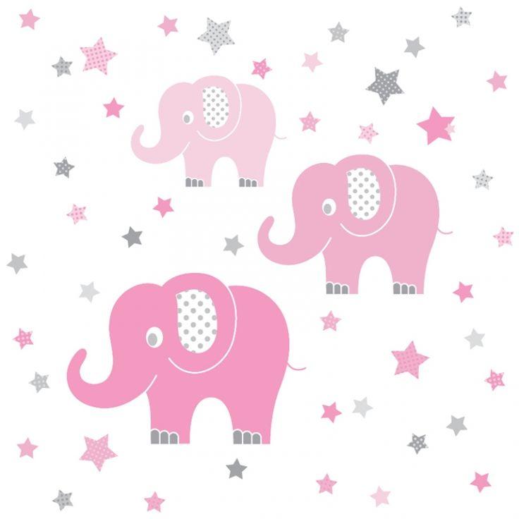 Cool Kinderzimmer Wandsticker Elefanten rosa grau teilig