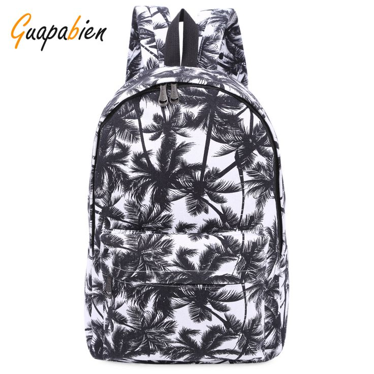 Guapabien Fashion Canvas Printing Women Backpacks Casual School Travel Big Bags for Teenager Brief Cartoon Leaf Print Ruchsack