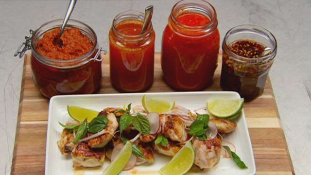 Grilled Chicken with Chilli Sauces