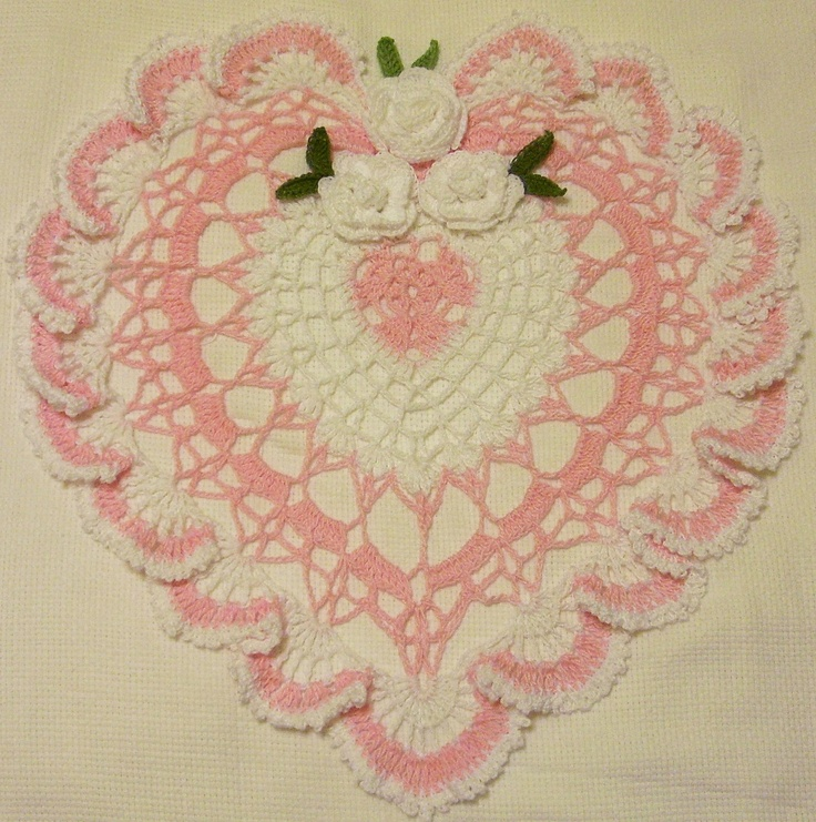 Heart doily pink and red crocheted home decor gifts handmade hand dyed thread via etsy Crochet home decor pinterest