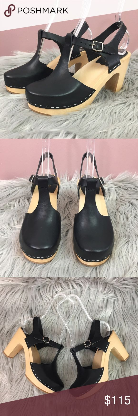 NEW Swedish Hasbeens Leather Heeled Clogs Brand new never worn. Brand marked to prevent in store returns. Euro Size 37 Swedish Hasbeens Shoes Heels