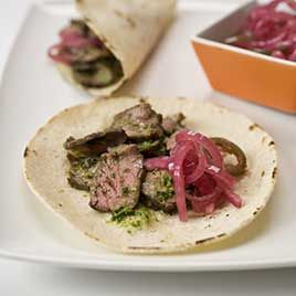 {MADE} Steak Tacos Recipe - America's Test Kitchen -used 1 lb pasanday and less salt.  Had with sour cream and guacamole.