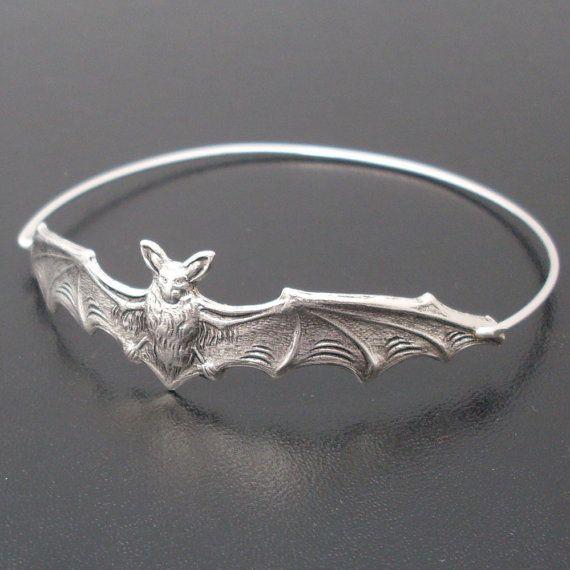 Bat Bangle Bracelet  Silver by FrostedWillow on Etsy, $17.95