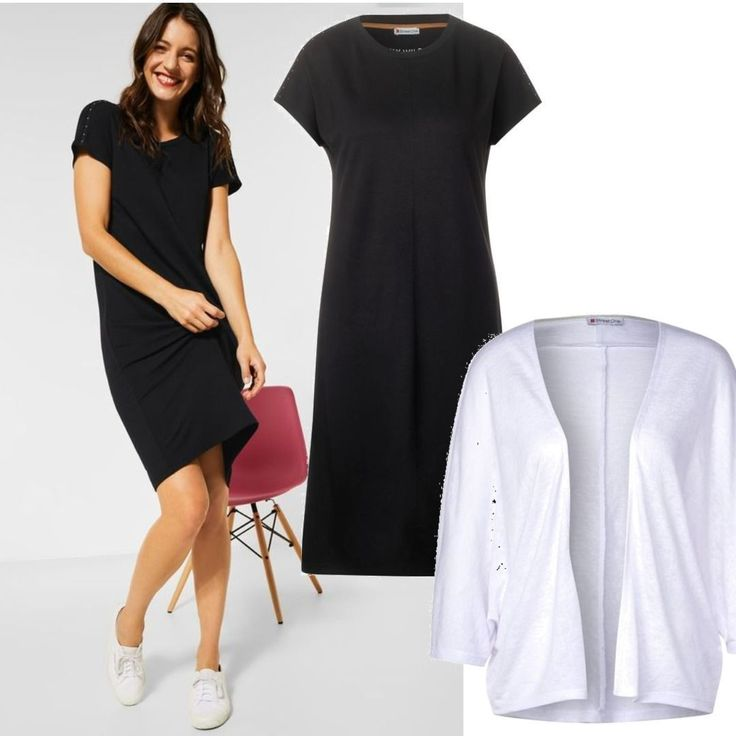 street one jerseykleid mit nietendetail black schwarz outfit fuer