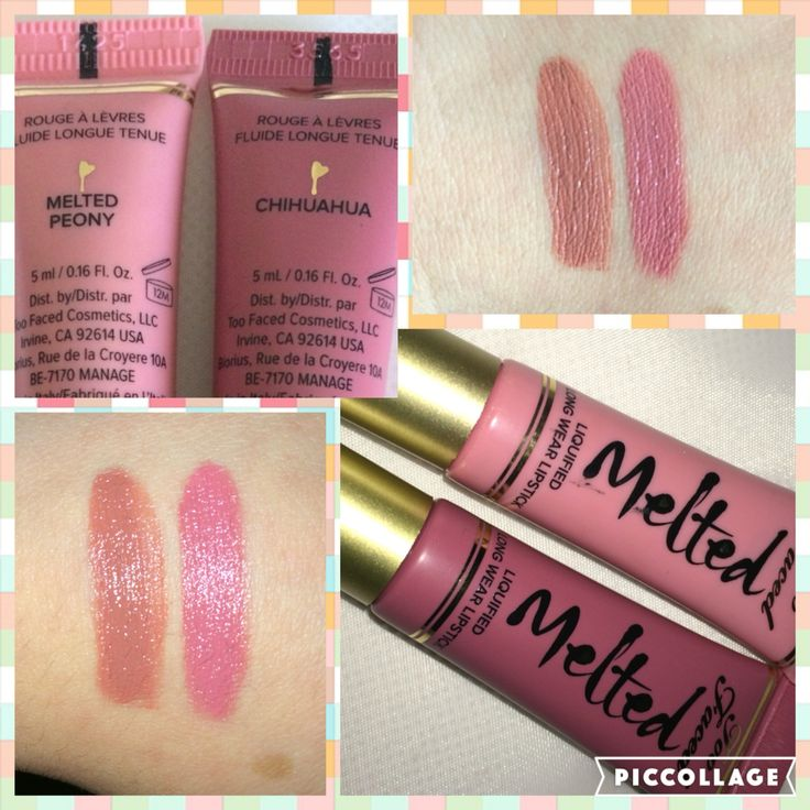 Too Faced Melted liquid lipstick in Chihuahua and peony or try nude and peony for a pinky nude lip color