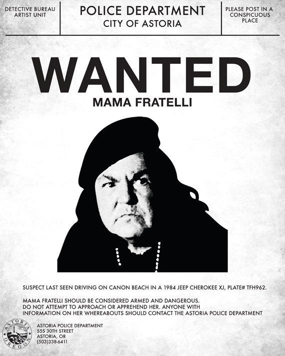Goonies Mama Fratelli Wanted Poster by supplybychrit on Etsy, $15.00
