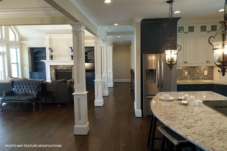 Columns and ceiling with trim House Plan 98267 at FamilyHomePlans.com#image-slideshow#image-slideshow