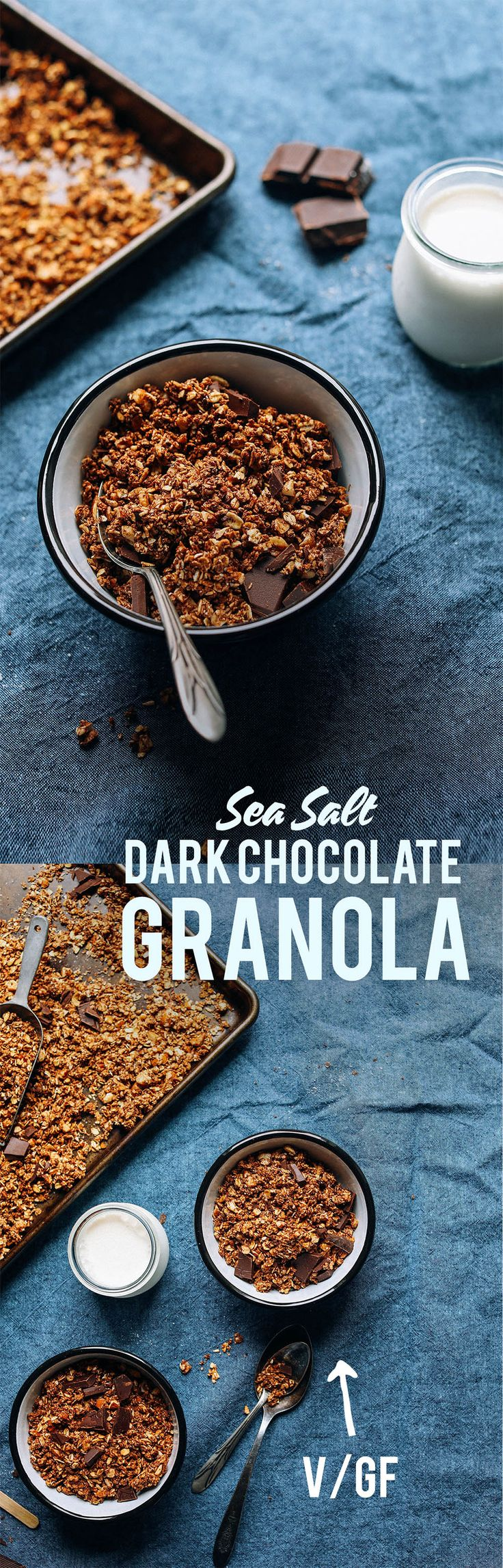Dark Chocolate Sea Salt GRANOLA! 9 ingredients, 30 minutes, naturally sweetened! yum!