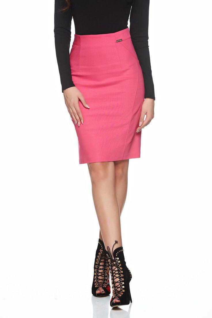Comanda online, Fusta casual PrettyGirl roz cu talie medie. Articole masurate, calitate garantata!