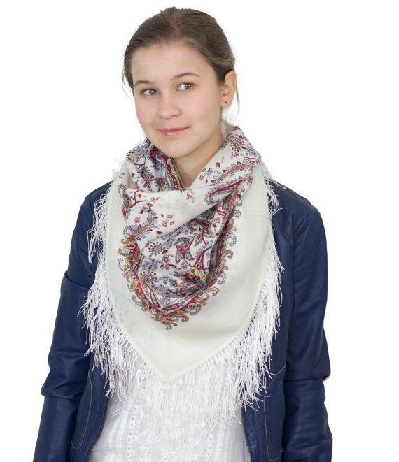 "Russian Shawl Scarf Pavlovo Posad, 100% Wool & silk handmade fringe, 35x35"", up to 16 colors, Vintage design"
