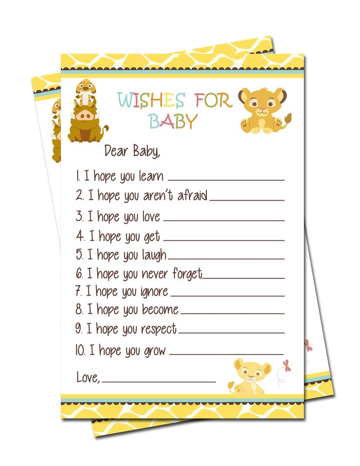 Simba Lion King Baby Shower Wishes for Baby Games - partyexpressinvitations