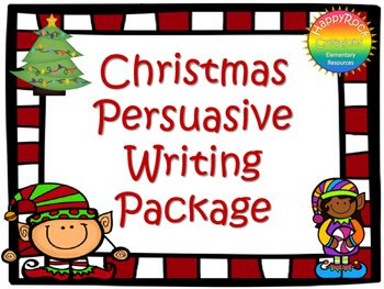 This Christmas Persuasive Writing Package includes a mini-lesson, fact vs. opinion activity, 5 persuasive writing prompts, graphic organizer, Christmas writing paper and a self-assessment checklist. Print and go - use with a Christmas/winter activity OR as a stand-alone writing activity.