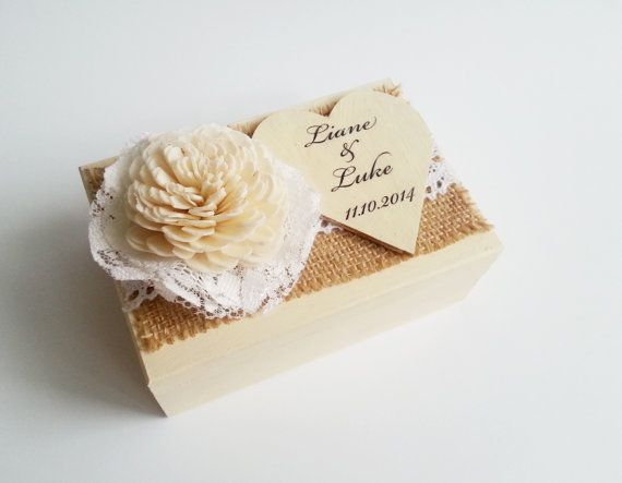 Cream ecru rustic wedding rings box with heart box writing sola rose burlap vintage wedding cream custom lace