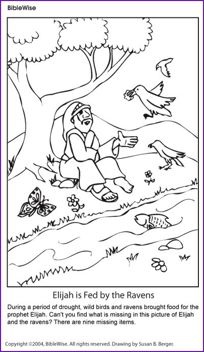 coloring elijah and the ravens kids korner biblewise bible coloring pageschildren - Elijah Bible Story Coloring Pages