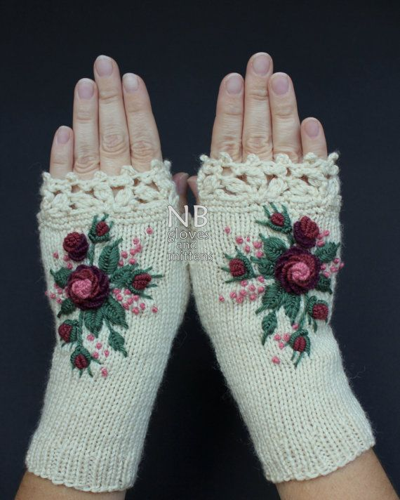 Knitted Fingerless Gloves Ivory Burgundy by nbGlovesAndMittens