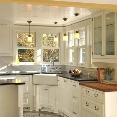 Kitchen Corner Sink With Bay Windows Design, Pictures, Remodel, Decor and Ideas