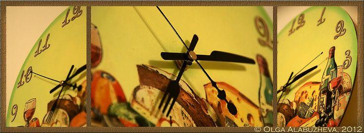 Часы на кухню. Декупаж.