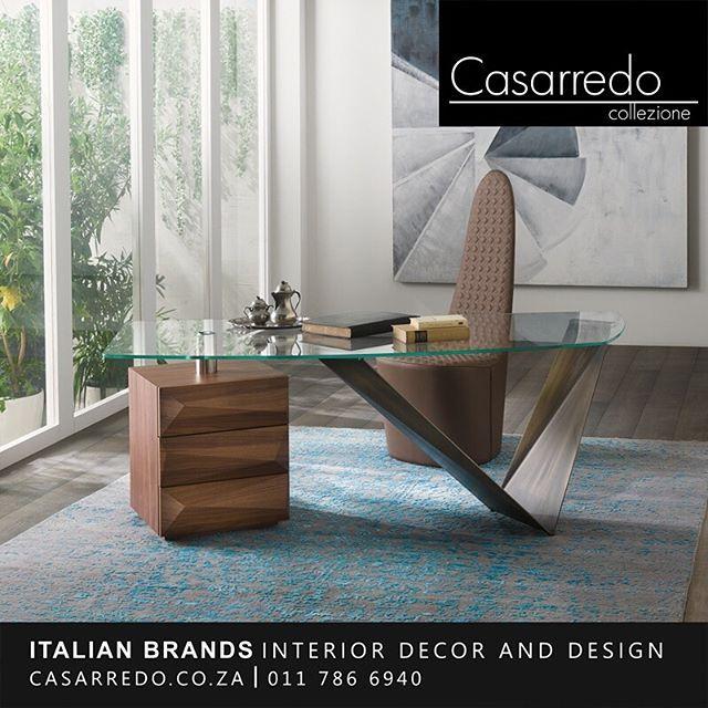 ǀ Metal Wood Glass ǀ Desk With Metal Base In Grafite Satin Brass