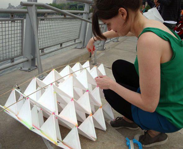 DIY Bell Tetrahedral Kite, using straws, wire, tissue paper