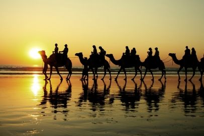 Camel ride in Cable Beach, Broome, Australia.