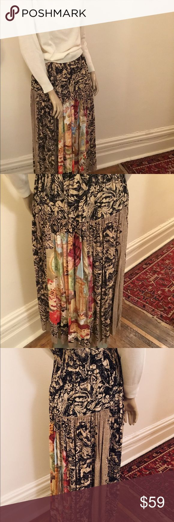 Designer skirt by Carole Little, Baroque theme This is a fabulous graphic print maxi skirt by Carole Little that features panels of highly ornate scenes of architecture and extravagant Baroque designs. It has a wide elastic waist band and a dropped fitted hip.  The fabric is a rayon blend. Size 8 or check the measurements below. Vintage Skirts Maxi