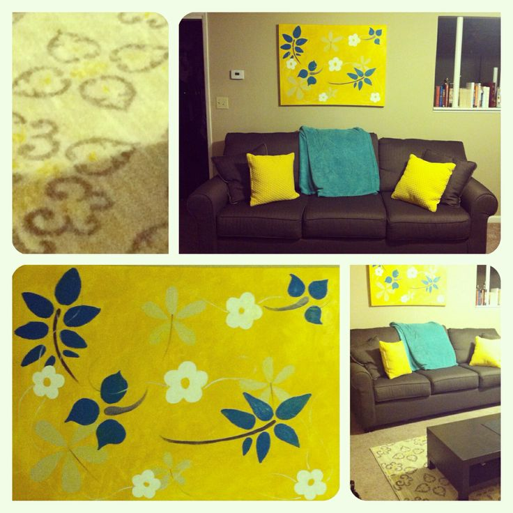 yellow/teal/gray redecorate   RC Willey: Couch Target: Area rug, blanket, pillow Painting: By ME