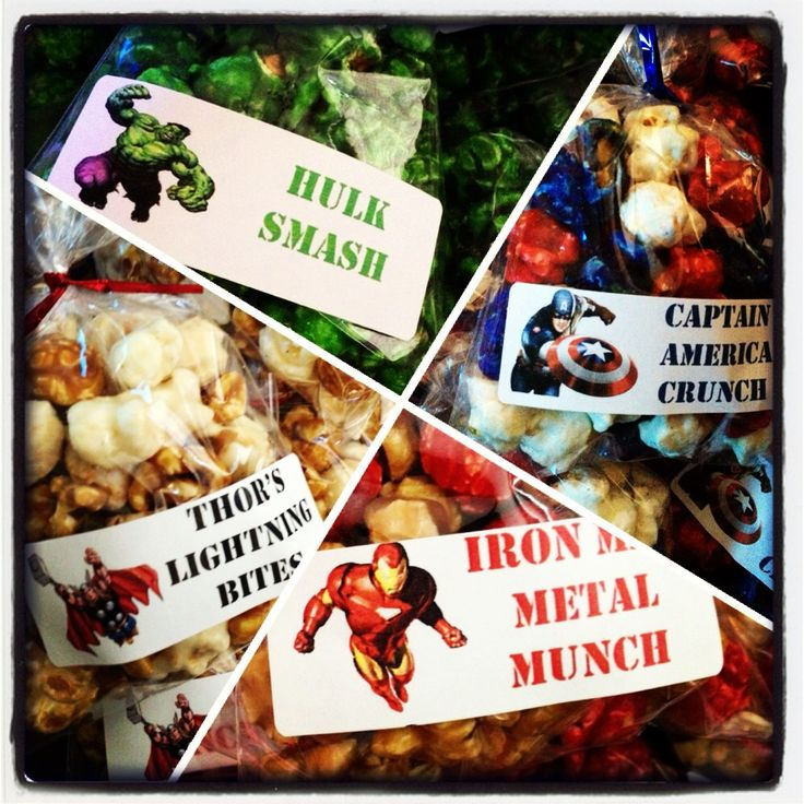 Avenger popcorn party snacks.   Iron Man Metal Munch (Cherry & Caramel popcorn), Captain America Crunch (cherry, vanilla & blueberry), Hulk Smash (green apple) & Thor's Lightning Bites (caramel & cheesecake). Took forever to come up with the names...hope the kids appreciate it!  Popcorn from Poparazzi in Houston, TX