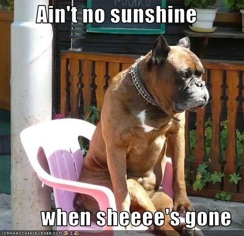 Ain't no sunshine  when sheeee's gone