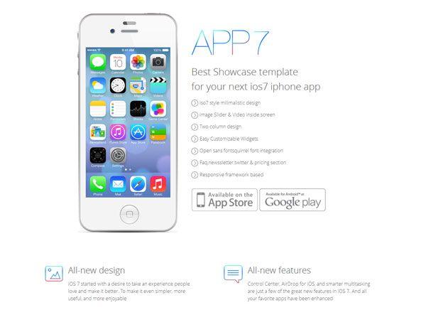 iOS7 App Landing Page Template
