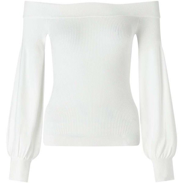 Miss Selfridge Cream Bardot Balloon Sleeve Knitted Top ($23) ❤ liked on Polyvore featuring tops, cream, evening wear tops, white fitted top, miss selfridge, cream top and viscose tops