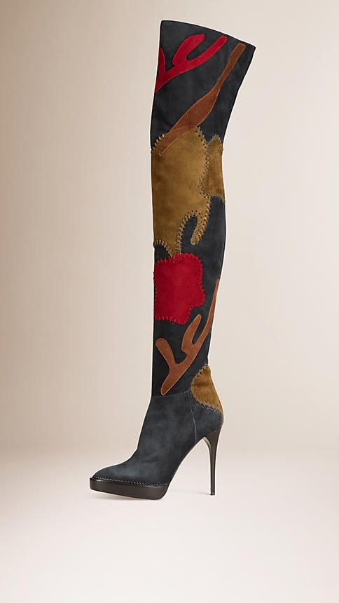 Dark pewter black/bronze Patchwork Suede Over-the-Knee Boots - Burberry #shoelust #tomboypretty