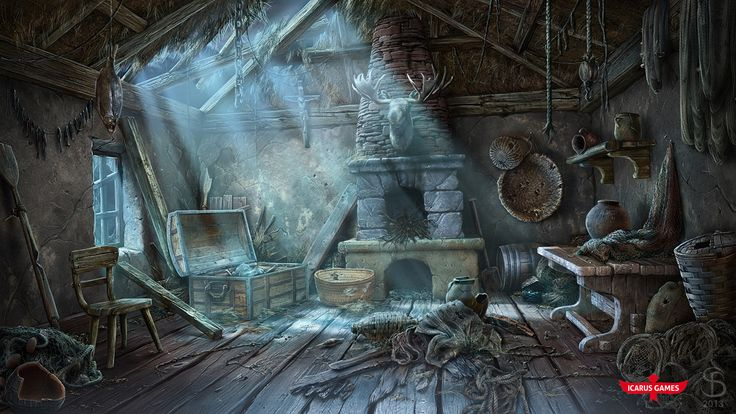 https://www.artstation.com/artwork/xZdL4 FISHERMAN'S HUT. art for hidden object game by Icarus Games  http://www.icarusgames.com/ #MattePainting #Environments #GameArt #SeryogaBiryukov #HiddenObjectGame #MiddleAges #FishermansHut #Moonlight #Interior #Poverty #LeayRoof #Photorealistic #Europe #DigitalPainting
