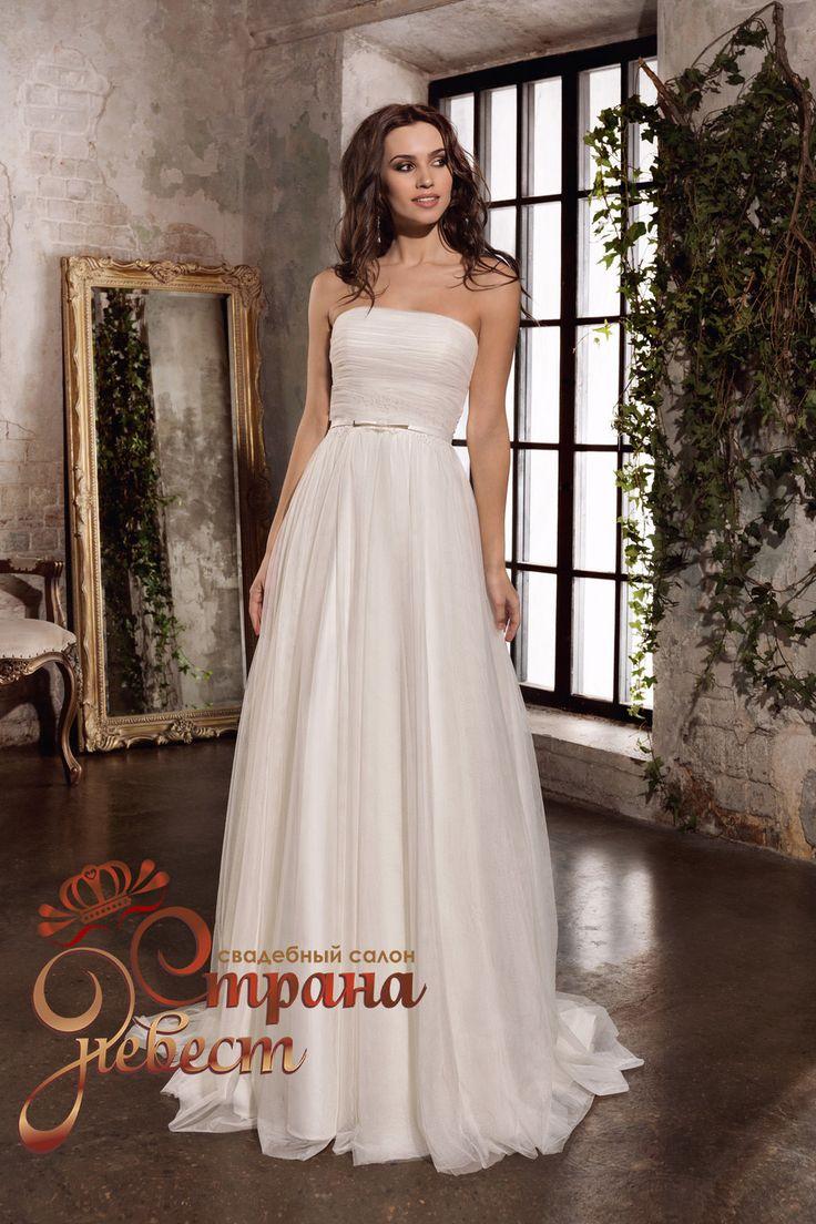 Свадебное платье А-силуэт : Шифоновое свадебное платье