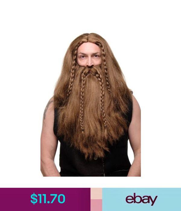 Wig /& Beard Male Wig Germane Viking Dwarf Viking Barbarian Brown Long