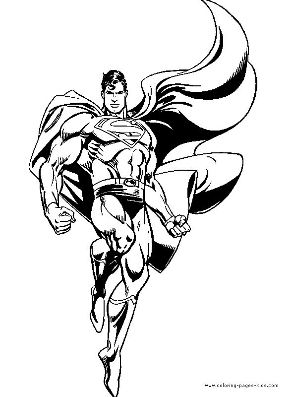 Superman color page, cartoon characters coloring pages