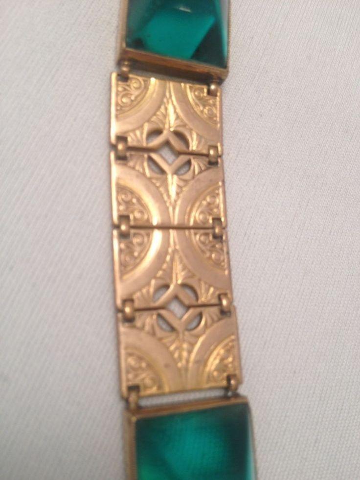 Beautiful vintage art deco Goldtone bracelet with Fantastic geometric panels .  #Unbranded #Chain