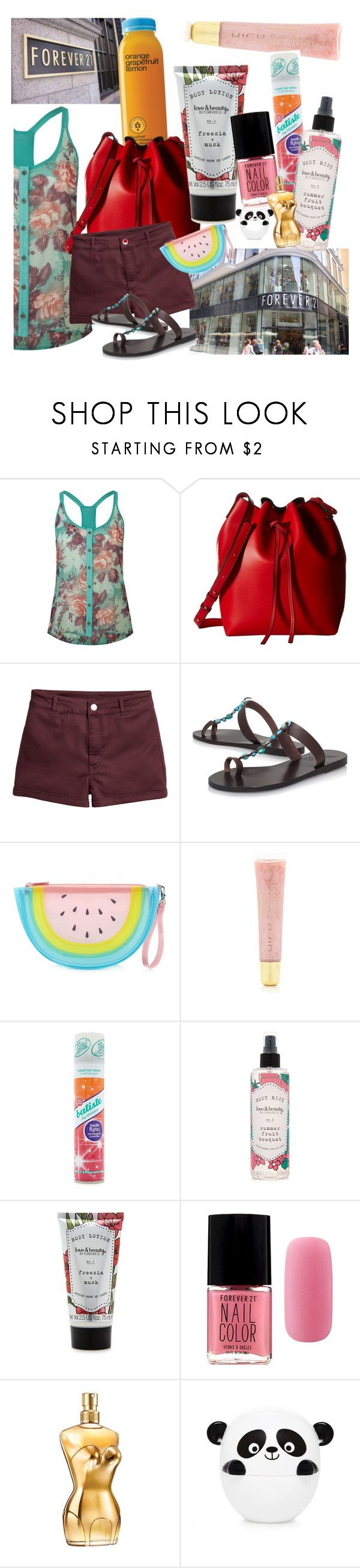 """set O3 // shopping"" by ivyfanfic ❤ liked on Polyvore featuring Lottie & Holly, Gabriella Rocha, H&M, Ancient Greek Sandals, Forever 21, Jean-Paul Gaultier and stylingmysummer"