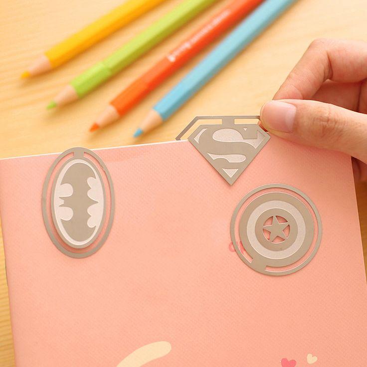 1 unid lindo kawaii marcadores papel clip de señal del metal de la vendimia clave hero libro corea papelería envío libre