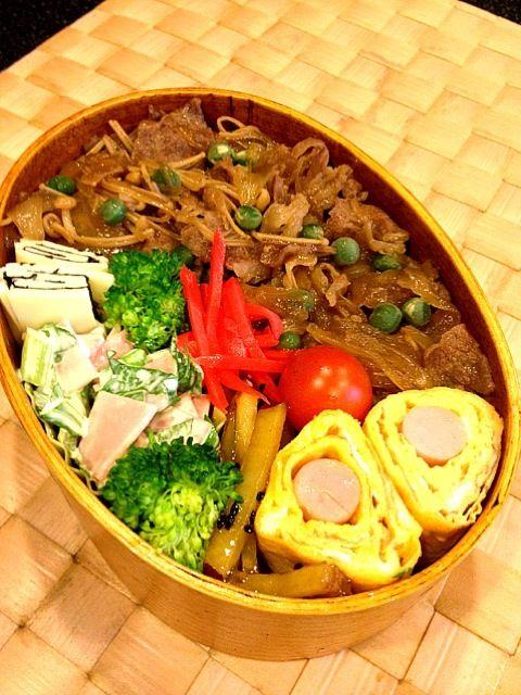 セロリとハムのサラダ、大学芋風、魚肉ソーセージの卵巻き、チーズと海苔のミルフィーユ - 71件のもぐもぐ - 牛丼弁当 by masako522
